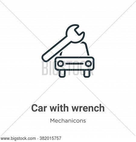 Car with wrench icon isolated on white background from mechanicons collection. Car with wrench icon