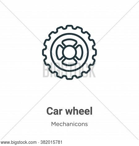 Car wheel icon isolated on white background from mechanicons collection. Car wheel icon trendy and m