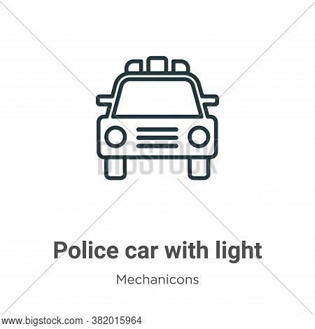 Police car with light icon isolated on white background from mechanicons collection. Police car with