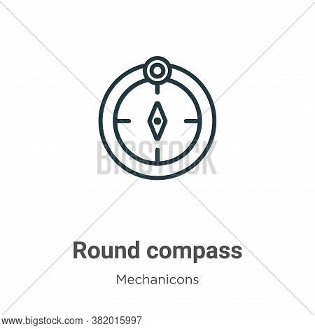 Round compass icon isolated on white background from mechanicons collection. Round compass icon tren