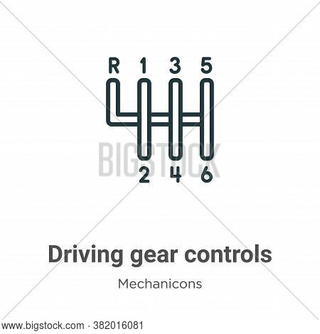 Driving gear controls icon isolated on white background from mechanicons collection. Driving gear co