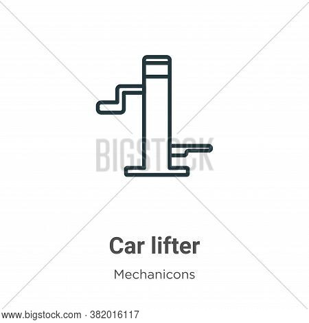 Car lifter icon isolated on white background from mechanicons collection. Car lifter icon trendy and