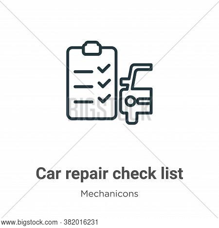 Car repair check list icon isolated on white background from mechanicons collection. Car repair chec