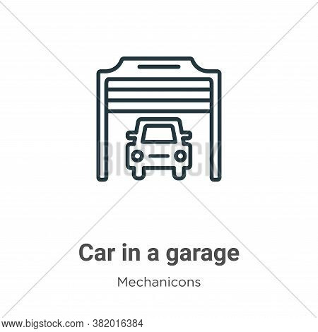 Car in a garage icon isolated on white background from mechanicons collection. Car in a garage icon