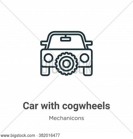Car with cogwheels icon isolated on white background from mechanicons collection. Car with cogwheels