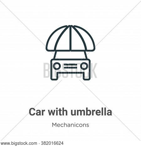 Car with umbrella icon isolated on white background from mechanicons collection. Car with umbrella i