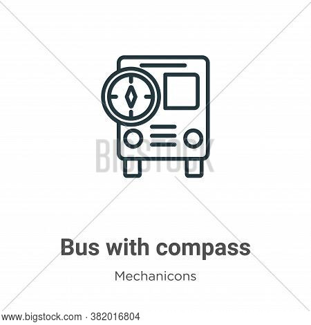 Bus with compass icon isolated on white background from mechanicons collection. Bus with compass ico