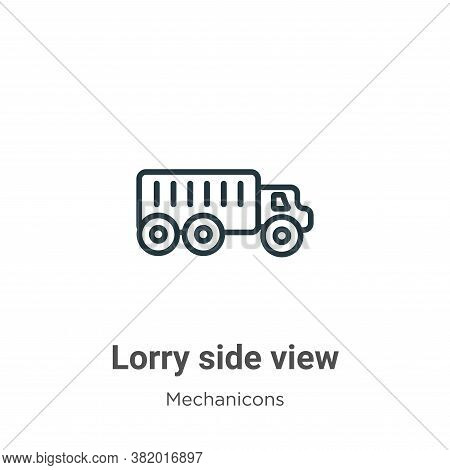 Lorry side view icon isolated on white background from mechanicons collection. Lorry side view icon