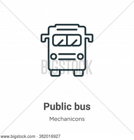 Public bus icon isolated on white background from mechanicons collection. Public bus icon trendy and