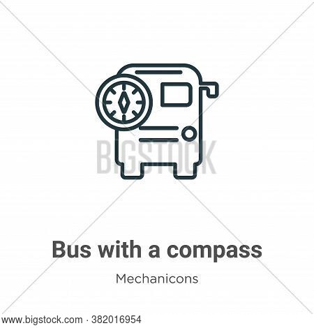 Bus with a compass icon isolated on white background from mechanicons collection. Bus with a compass