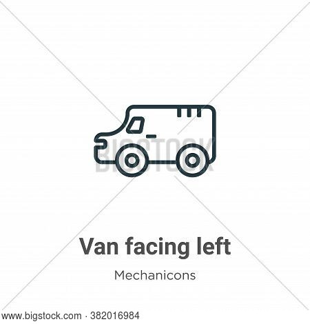 Van facing left icon isolated on white background from mechanicons collection. Van facing left icon