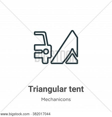 Triangular tent icon isolated on white background from mechanicons collection. Triangular tent icon