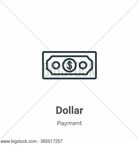 Dollar icon isolated on white background from payment collection. Dollar icon trendy and modern Doll