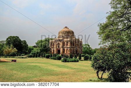 View Of The Tomb Of The Mughal Period, Sheesh Gumbad, A Monument To Indian Architecture Of The 15th