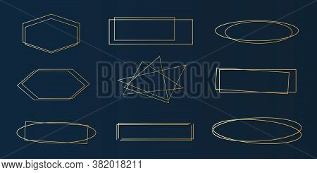Set Of Golden Geometric Frames - Geometrical Art Deco Style Clip-art For Invitation Cards, Flyers -