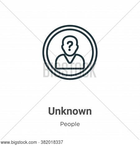 Unknown icon isolated on white background from people collection. Unknown icon trendy and modern Unk