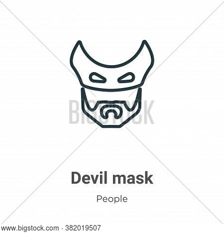 Devil mask icon isolated on white background from people collection. Devil mask icon trendy and mode