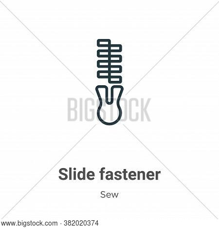 Slide fastener icon isolated on white background from sew collection. Slide fastener icon trendy and