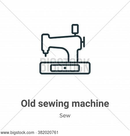 Old sewing machine icon isolated on white background from sew collection. Old sewing machine icon tr