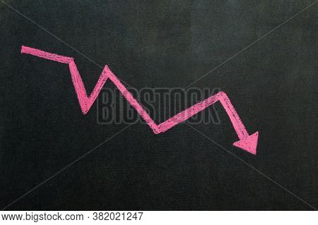 Red Arrow Drop Business Finance Market Concept On Black Background. Chart Recession Down Crash Stock