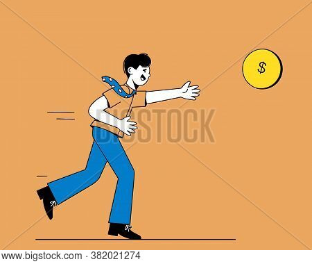 A Man In A Tie Runs For A Gold Coin. A Businessman In Pursuit Of Profit. The Concept Of A Career And