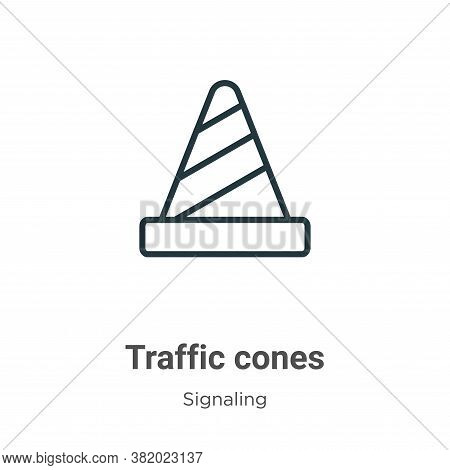 Traffic cones icon isolated on white background from signaling collection. Traffic cones icon trendy