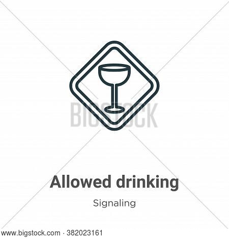 Allowed drinking icon isolated on white background from signaling collection. Allowed drinking icon