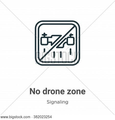 No drone zone icon isolated on white background from signaling collection. No drone zone icon trendy