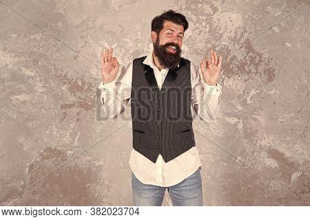 Guy Mature Bearded Stylish Dressed In Shirt And Vest. Jewish Holiday. Jewish Traditions. Purim Festi