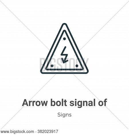 Arrow bolt signal of electrical shock risk in triangular icon isolated on white background from  col