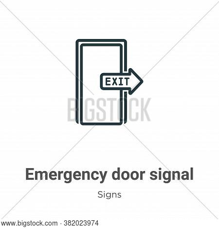 Emergency door signal icon isolated on white background from signs collection. Emergency door signal
