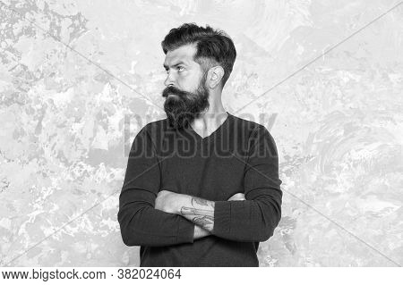 Hairstyle Straight From Runways. Bearded Man With Fashion Hairstyle. Hipster With Trendy Facial Hair