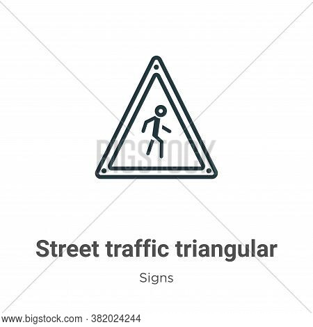 Street traffic triangular signal with a walker icon isolated on white background from  collection. S