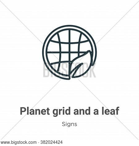 Planet grid and a leaf icon isolated on white background from signs collection. Planet grid and a le
