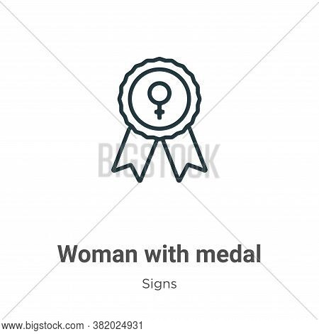 Woman with medal icon isolated on white background from signs collection. Woman with medal icon tren