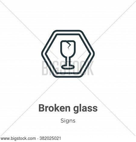 Broken glass icon isolated on white background from signs collection. Broken glass icon trendy and m
