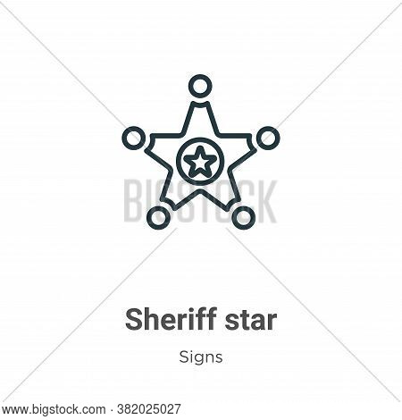 Sheriff star icon isolated on white background from signs collection. Sheriff star icon trendy and m