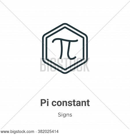 Pi constant symbol icon isolated on white background from signs collection. Pi constant symbol icon