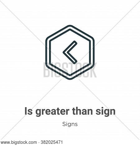 Is Greater Than Sign Icon From Signs Collection Isolated On White Background.