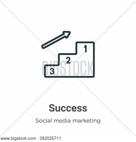 Success icon isolated on white background from social media marketing collection. Success icon trend