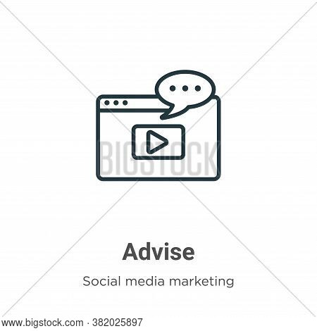 Advise icon isolated on white background from social media collection. Advise icon trendy and modern