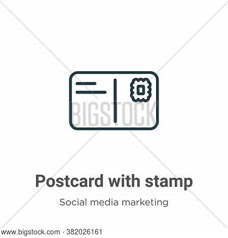 Postcard with stamp icon isolated on white background from social collection. Postcard with stamp ic