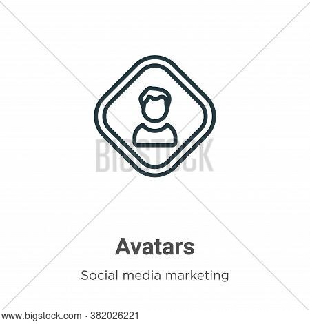 Avatars icon isolated on white background from social collection. Avatars icon trendy and modern Ava