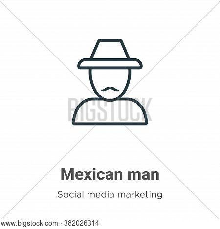 Mexican man icon isolated on white background from social collection. Mexican man icon trendy and mo