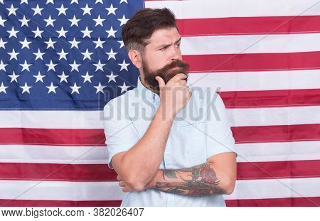 American Man Entrepreneur Businessman Usa Flag Background, Status And Reputation Concept.