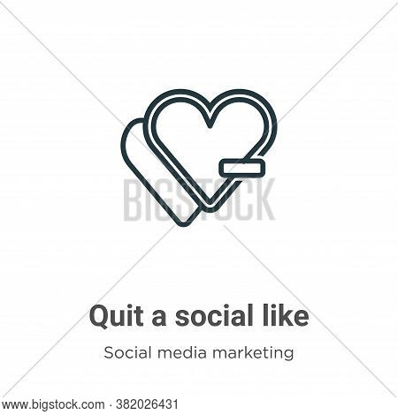 Quit a social like icon isolated on white background from social collection. Quit a social like icon
