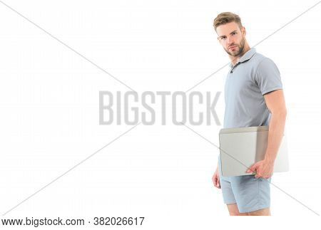 Sportsman With Laptop Isolated On White. Man Carry Laptop For Internet Game. Sport Bets And Gambling