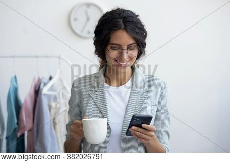 Happy Stylist Enjoying Pause Break Time With Cup Of Coffee.