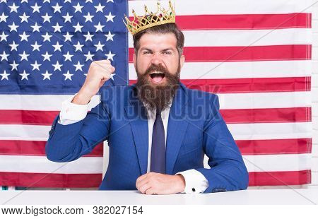 Reputable Businessman Handsome Man Sit Desk American Flag Background, Fame And Glory Concept.