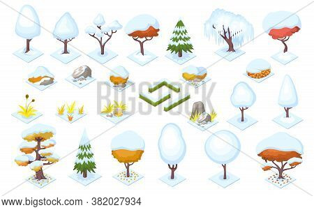 Winter Season Trees And Bush Fence, Stones. Plants With Snow For Park Or Forest, Garden Or Wood Land